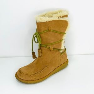 Furry lace up Moccasin style boots